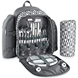 VonShef 4 Person Outdoor Picnic Backpack Bag Set With Blanket – Includes 29 Piece Dining Set & Insulated Cooler Compartment to Keep Food Chilled for Longer - Gray