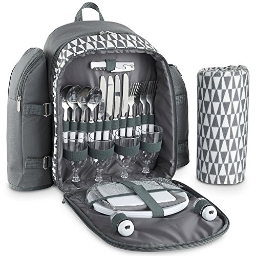 VonShef 4 Person Outdoor Picnic Backpack Bag Set Blanket – Includes 29 Piece Dining Set & Insulated Cooler Compartment to Keep Food Chilled Longer - Gray (Set Comfort Essentials)