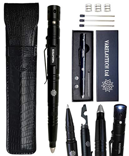 Multi-Function Tactical Pen with PU Leather Pouch, Flashlight, Bottle Opener, 6mm Hex-Wrench, Screwdriver, Ballpoint Writing Pen, Glass Breaker, Scraper, 3 Pen Refills, 3 Battery Sets, and Gift Box