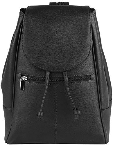 Lerry' Mochila hecha a mando de suave piel de napa o piel de ante engrasada, el color:Negro Schwarz