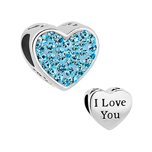 Mother's Heart I Love You Charms Light Blue Crystal Birthstone Beads Fit Charm Bracelet (Mothers Heart Light)