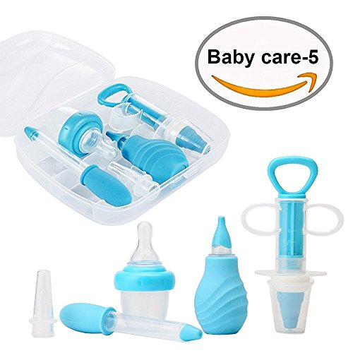 5-Piece Medical Kit with Bonus Travel Case, Baby Infant Toddler BPA Free Medical Kit Medicine Dispenser, Sure-Dose Medicine Dropper/Infant Baby Essentials Kit Medicine Set - Blue by HaloWard