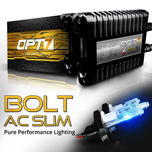 OPT7 Bolt AC Slim 9007 Hi-Lo HID Kit - 4X Brighter - 6X Longer Life - All Bulb Sizes and Colors - 2 Yr Warranty [10000K Deep Blue Xenon Light] Dual Voltage Digital Ballast