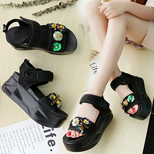 Sandals Women'S Muffins Leisure And Comfort WHLShoes Flower High And Slopes Water Flowers Heel Bottomed Fashionable White Diamond Wild Drill Summer Sandals xIx6nwUBq