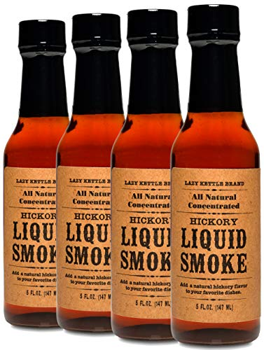 Lazy Kettle Brand All Natural Liquid Smoke | Perfect for Flavoring Meat | Hickory | Used to Flavor Beef Jerky, Steak, Fish, Cheese, Sauces and More | Pack of 4 (Fish Steak Sauce)
