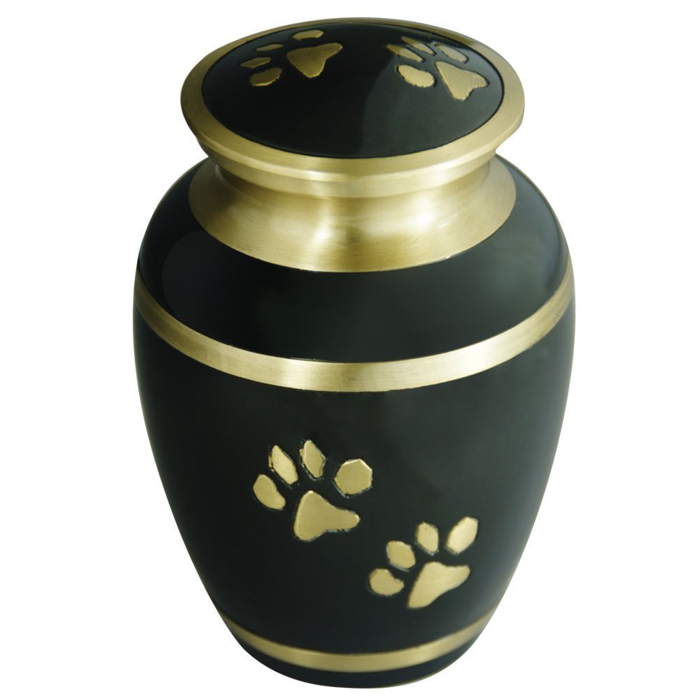 Pet Funeral Urn by Meilinxu- Cremation Urn for Pet Ashes- Hand Made in Brass Fits the Cremated Remains and Ashes of Dogs, Cats or other animals Attractive Display Burial Urn (Classic Paws)
