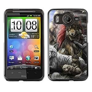 // PHONE CASE GIFT // Duro Estuche protector PC Cáscara Plástico Carcasa Funda Hard Protective Case for HTC G10 / Gray Wolf Family /
