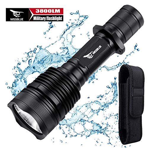 WISSBLUE H1 3800 Lumen Rechargeable Tactical LED Flashlight Military Grade With Leather Holster, can use for rifles as Ruger 10/22 or the AR15 Airsoft Rifle etc. (Best Long Distance Flashlight)