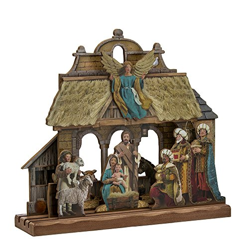 Kurt Adler Wooden Nativity Tablepiece Set