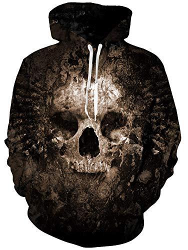 Unisex Black Skull Fleece Hoodie 3D Print Cool Pullover Hooded Sweatshirt -