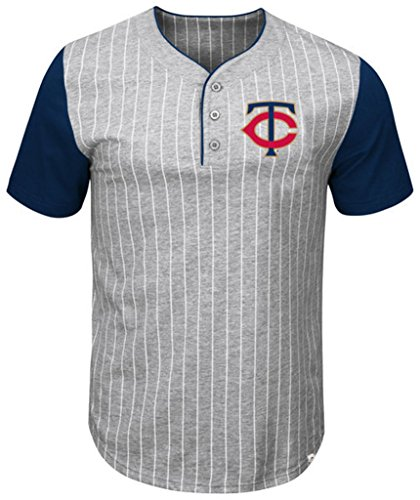 (VF Minnesota Twins MLB Mens Majestic Life Or Death Pinstripe Henley Shirt Gray Big & Tall Sizes (5XT))