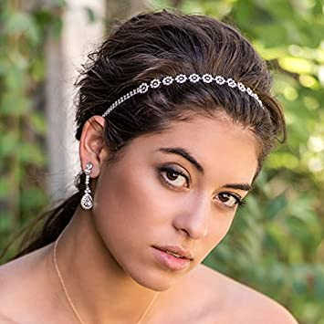 Amazon.com   Silver Crystal Rhinestone Simple Elastic Bridal Headband 1afd97538dd