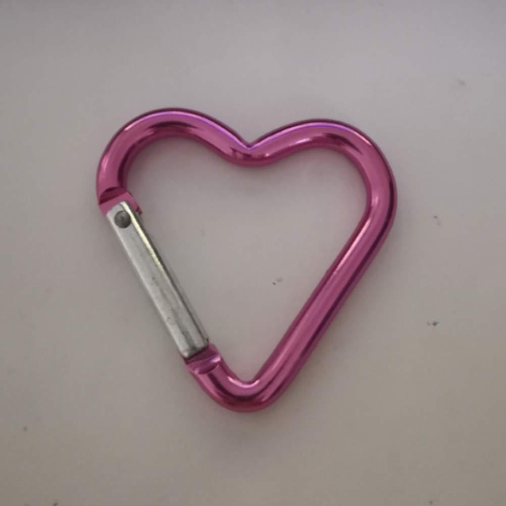 LIOOBO 10pcs mousquetons en Aluminium avec Pince Mousqueton en Forme de Coeur pour Le Camping en Plein air randonn/ée p/êche