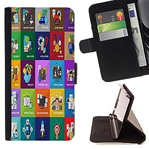 King Case - FOR Samsung Galaxy S5 V SM-G900 - Efficiency comes from diligence - Prima caja de la PU billetera de cuero con ranuras para tarjetas, efectivo Compartimiento desmontable y correa para la mu?eca