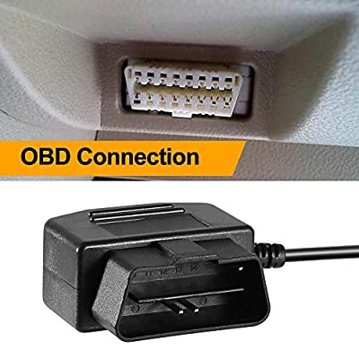 OBD2 OBD Power Cable for Dash Camera, Ssontong OBD to Mini USB OBDII Adapter Hardwire Charger Cable 24 Hours Surveillance and Acc Two Mode