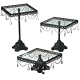 Midwest CBK Jeweled Black Square Cake Stand, Set of 3