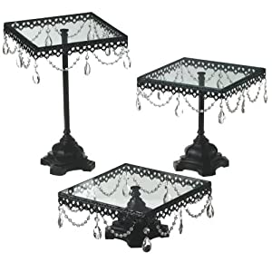 Midwest Cbk Jeweled Black Square Cake Stand