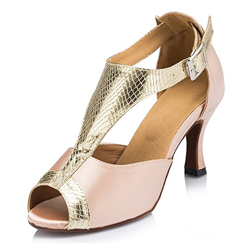 Samba 5 LD051 Wedding Latin Dance Modern Womens Rumba M TDA Shoes Beige 8 Mid Satin Sandals Heel US zxFqPdwZF