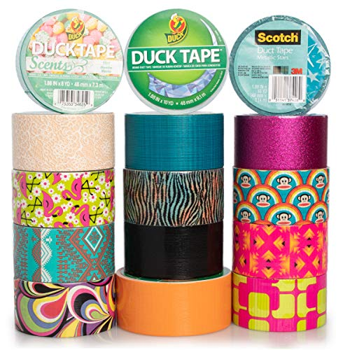 Duck and Scotch Brand Duct Tape Set (15 Assorted Rolls) Colored Duct Tape Multi Pack, Duct Tape Bulk Lot For Duct Tape Designs, DIY Crafts ()