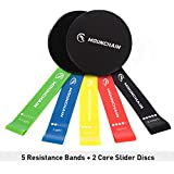 Mounchain Resistance Loop Bands and Gliding Core Sliders Discs, Low-Impact 5 Pcs Exercise Resistance Loop Bands 2 Pcs Double-Sided Sliding Discs for 80 Day Obsession, Pilates, Core, Glutes and Abs