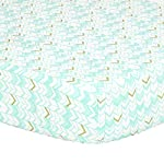 Mint-Green-Metallic-Gold-Herringbone-Print-Fitted-Crib-Sheet-100-Cotton-Baby-Girl-Geometric-Zig-Zag-Chevron-Nursery-and-Toddler-Bedding