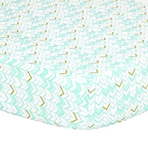 Mint Green, Metallic Gold Herringbone Print Fitted Crib Sheet – 100% Cotton Baby Girl Geometric Zig Zag Chevron Nursery and Toddler Bedding