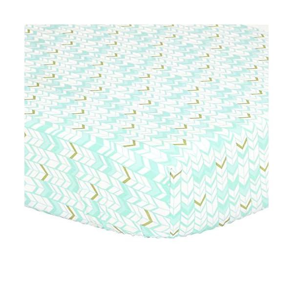 Mint Green, Metallic Gold Herringbone Print Fitted Crib Sheet – 100% Cotton Baby Girl Geometric Zig Zag Chevron Nursery and Toddler Bedding