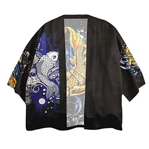 Men's Japanese Harajuku Fish Printed Kimono Cardigan Jackets Streetwear -
