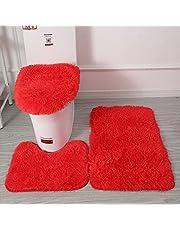 Driedelige Badkamermat - Badkleed 3-Delige Set Toiletdekselhoezen Voor Badkamer Badmat Antislip Tapijt Pluche Badkamermat Warm Zacht Comfortabel Ademend
