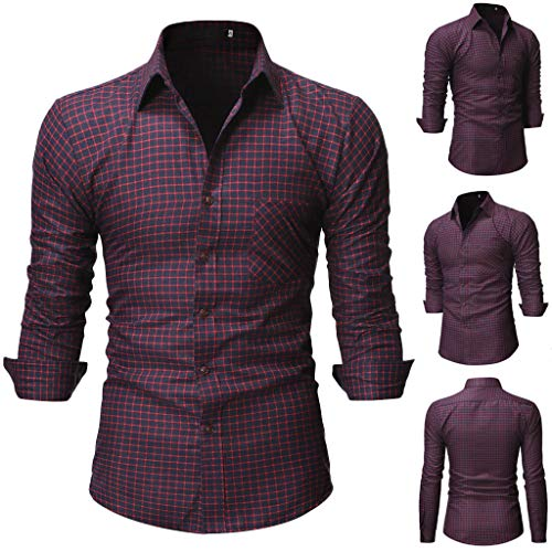 Shirt Casual Printing Pattern Button Down Casual Normal Plaid Floral Business Long Sleeve Button T-Shirt Top Blouse Men's (XXL,8- -