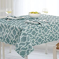 Casual Living by Newbridge Sydney Indoor Outdoor Polyester Table Linens, 60-Inch by 102-Inch Oblong (Rectangle) Tablecloth, Turquoise
