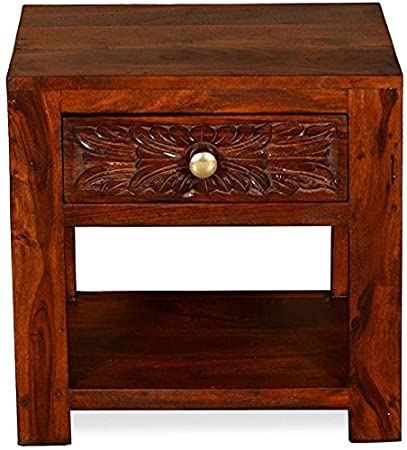 Ringabell Altavista Crafted Honey Finish Solid Sheesham Wood Drawer Bedside Table (Brown)