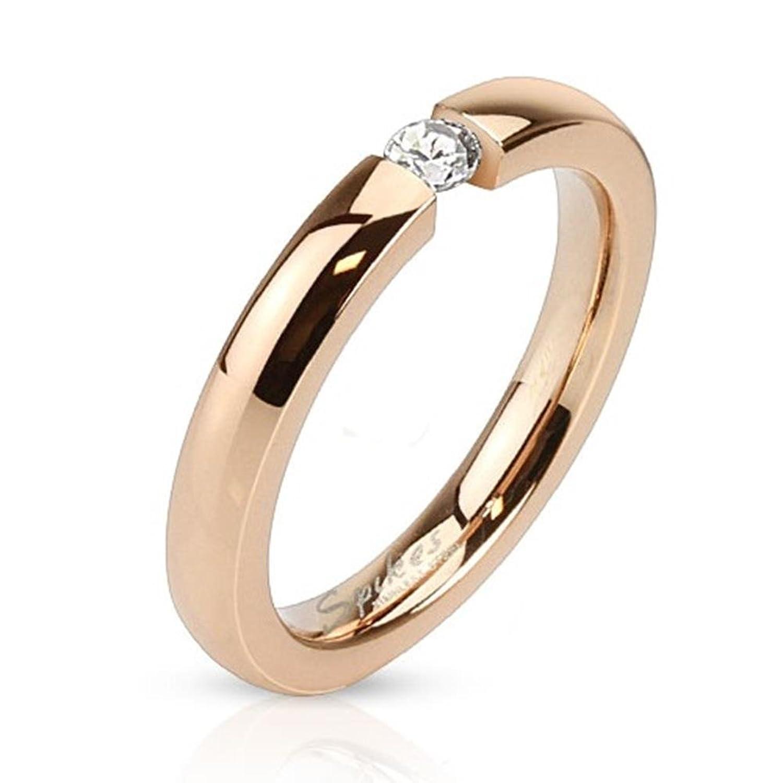 Paula  Fritz anillo de acero inoxidable de oro rosa con la