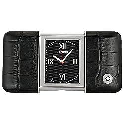 Montblanc Travel Sliding Black Dial Croco Leather Case Travel Clock 102373