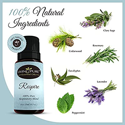 #1 Respiratory Essential Oil & Sinus Relief Blend by Living Pure Essential Oils - Promotes Breathing, Congestion Relief, & Respiratory Function - 100% Organic Therapeutic & Aromatherapy Grade - 15ml