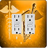 Rikki Knight 8867 Gfidouble Orange Medical Doctor Symbol Design Light Switch Plate