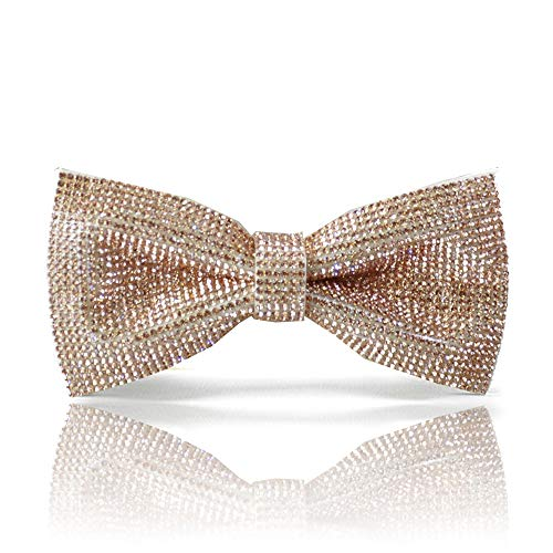 Buy Bow Ties (Gold bow tie, gold Rhinestones bow tie, gold color like rhinestones bow tie, Sparkle gold pre-tied bow tie for men, Dream Up)