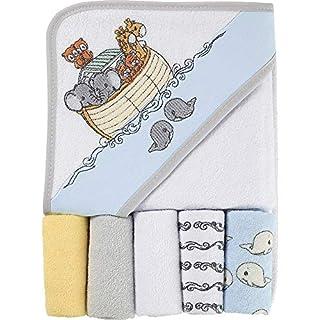 Precious Moments Noah's Ark 6PC Hooded Towel & Washcloth Set, White/Grey/Yellow/Blue