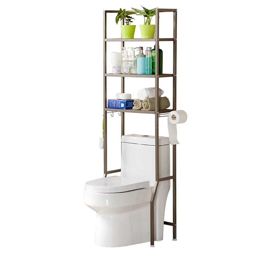 DIDIDD Shelf-Hwf Bathroom Shelves Toilet Rack Parcel Rack Sundries Storage Rack Floor Type Three Layers with Paper Holder,Brown