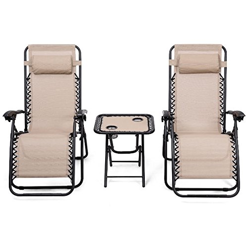 - 3PCS Beige Zero Gravity Recliner Chaise Lounge Chair Portable Folding Table 2 Cup Holders Foldable Design Patio Outdoor Garden Yard Camping Picnic Pool Beach Décor Furniture Steel Tubes Construction