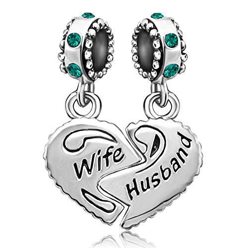 JMQJewelry Wife Heart Love Husband May Valentine's Day Birthstone Charms For Bracelets May Birthstone Heart Charm
