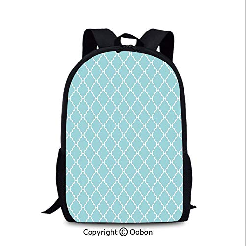 Men and Women Student Backpack, Big and Small Florets Daisies Spring Field Rural Cottage, School Bag :Suitable for Men and Women, School, Travel, Daily use, etc.Light Blue White]()