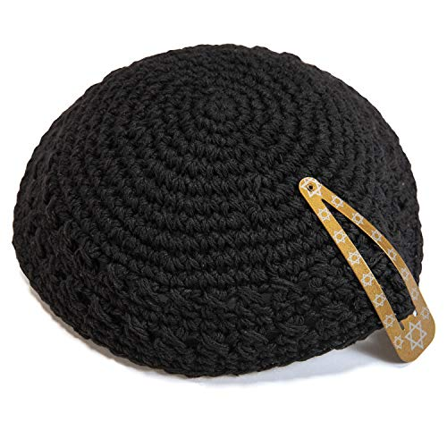 Classic Knitted 17 cm Black Cotton Kippah Jewish Traditional Kippa Yarmulke Round
