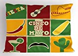 Lunarable Cinco De Mayo Pillow Sham, Colorful Composition of Mexican Holiday Symbols as Square Mosaic Tiles Print, Decorative Standard King Size Printed Pillowcase, 36 X 20 Inches, Multicolor