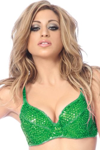 Hip Shakers New Sequin Cabaret Beaded Accents Bra Top Halloween Costume Tribal Belly Dance -