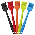 YuCool 5 Pack Silicone Basting Brush, Pastry&Basting Oil Brush with 2 Rest for BBQ,Turkey Baster,Cake,Barbecue Utensil,Grilling,Marinating-5 Colors 10 High Quality:Hygienic solid silicone with Steel Support inside, will not melt,warp,discolor,or shrink like plastic or wooden brushes. Package:You will get 5 silicone brush and 2 silicone spoon rest,It's very convenient for you to replace,elegant design for kitchen work. Color and Dimension:5 Colors (Black,Blue,Red,Green,Orange),Brush size:8.2in*1.3in;Spoon Rest size:7.9in*3.8in. These beautiful colors will let your kitchen light up soon,keep a colorful and nice kitchen.