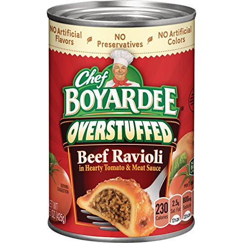 Chef Boyardee Beef Meatballs - Chef Boyardee Big Beef Ravioli, Overstuffed, 15-Ounce Cans (Pack of 12)
