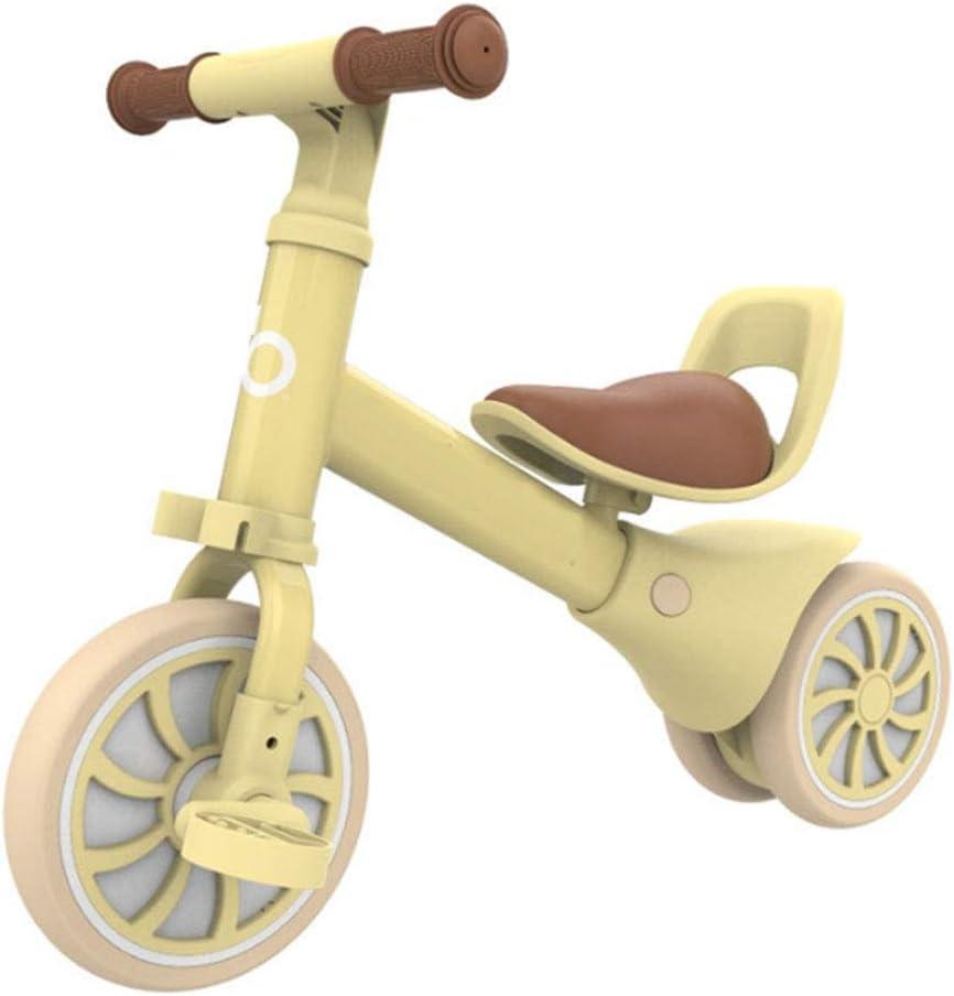 MQYZS Bicicleta Sin Pedales Ultraligera,Bicicleta sin Pedales para niños y niñas | Bici 12 Pulgadas a Partir de 2-4 años con Freno,Amarillo