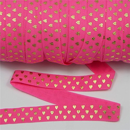 mdribbons Valentine's Day-5/8 Inch,10 Yards Pack-Love Heart Print,Gold Foil Matte Elastic Ribbon FOE-Hair Tie,Hair Band,Headband Supplies,Hair Ponytail Holders-Hot Pink Color