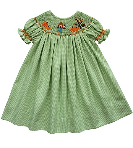 Fall Bishop Dress (Thanksgiving Girls Bishop Dress Hand Smocked Pumpkins Patch Scarecrow)